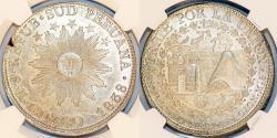 World Coins - PERU, Confederación Perú-Boliviana: (South Peru). AR 8 Reales 1838 MS. Cuzco mint. NGC AU58
