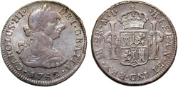 World Coins - Spanish Colony. Peru. Charles III. Silver 2 Reales 1782 MI. Nicely toned Choice VF