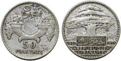 World Coins - Lebanon. Republic. AR 50 Piastres 1936. Choice VF