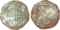 "World Coins - Bolivia. Philip IV (1621-1665). Shipwreck recovered Cobb 8 Reales 1629. ""Rudy Lewis Collection"" Grade II with ID #."