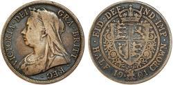 World Coins - Great Britain. Queen Victoria (1837-1901) AR Half Crown 1901. VF