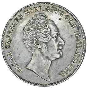 World Coins - Sweden. King Oskar I (1844-1859). AR 1 Riksdaler 1851. Nice Choice XF, toned, RARE