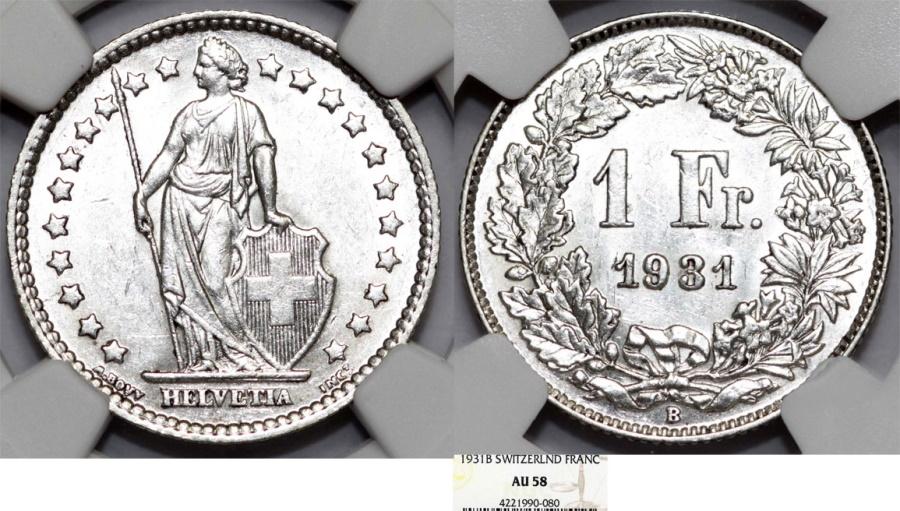 World Coins - Switzerland. Federation. AR 1 Franc 1931. NGC AU58