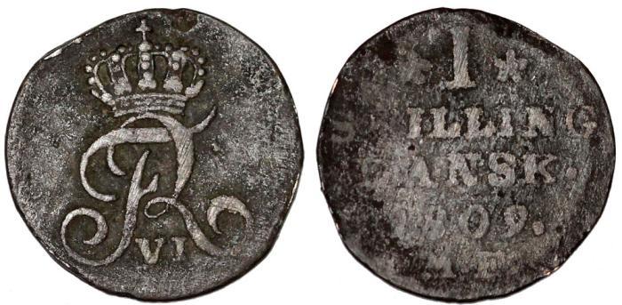 World Coins - Denmark. Frederic VI (1808 - 1839). Silver Skilling 1809. Fine