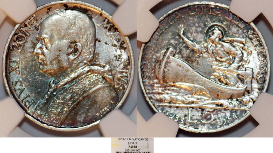 """World Coins - Vatican City. Pope Pius XI (1922-1939). Silver 5 Lire 1933-34 """"Jubilee"""". NGC AU58, toned"""