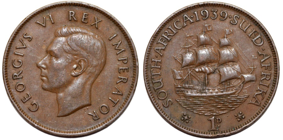 World Coins - South Africa as British Colony. George V. BRZ 1 Penny 1939. Choice XF