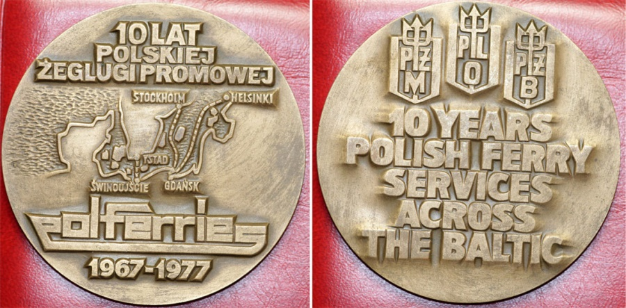 World Coins - Poland., Large Medal Dedicated to 10 Years of Polish Steamship Ferry on the Baltic Sea.UNC , ETUI