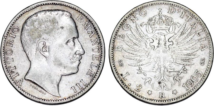 World Coins - Kingdom of Italy. Vittorio Emanuelle III.  Silver 2 Lire 1905 R. XF