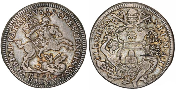 World Coins - RARITY! Papal States. Rome. Clemente XI (1700-1721). Mezza Piastra 1702 (Anno II). XF, toned