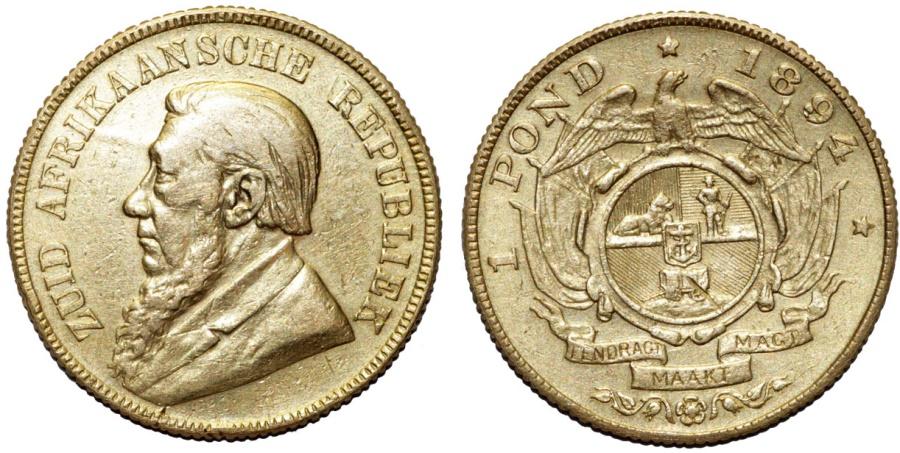 World Coins - ZAR. South Africa. Gold 1 Pound 1894. VF+/XF+.