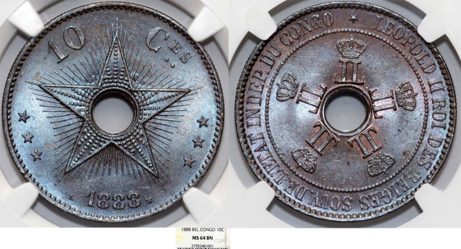 World Coins - Congo. Royal Dominion of Belgium Crown. Leopold II. CU 10 Centimes 1888. NGC MS64 BN
