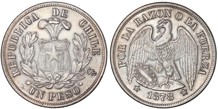 World Coins - Chile. Republic. Large Silver 1 Peso 1878. aXF