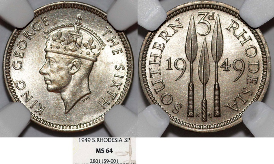 World Coins - Southern Rhodesia as British Colony. King George VI. AR 3 Pence 1949. NGC MS64!