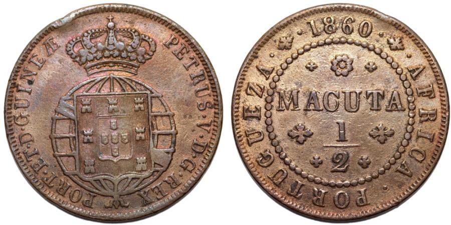 World Coins - ANGOLA as Portuguese Colony. Pedro V (the Hopeful). (1853-1861). CU 1/2 Macuta 1860. aXF