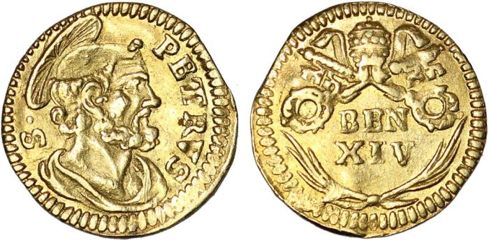 World Coins - Italy. Papal States. Pope Benedict (1740-58). Gold 1/2 Scudo Romano ND. Nice XF.