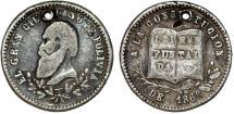 "World Coins - Bolivia. Potosi. Silver 1-Sol-Sized Medal 1868, President Acha ""Proclamation"". aVF"