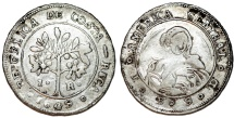 World Coins - COSTA RICA, República de Costa Rica. 1848-pres. AR Real 1849 JB. Choice VF