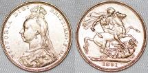 World Coins - Australia. Queen Victoria (1837-1901) Gold Sovereign 1891 M. Good XF