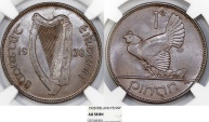 Ireland. Free State. AE Penny 1928. NGC AU58BN