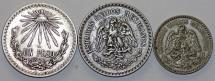 World Coins - Mexico. Lot of 3 Silver coins 1921-1935.  XF