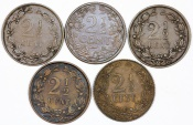 World Coins - Netherlands: Lot of 5 Coins: 2 1/2 cent 1881-1912. VF-XF