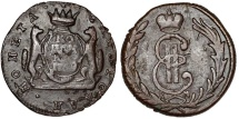 World Coins - Imperial Russia. Siberia. Catherina II (1764-1796)  Copper 1 Kopeck 1769. VF.