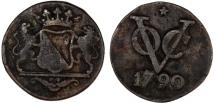 World Coins - Netherlands East Indies. Dutch Indies Company . Cu Duit 1790. Fine+
