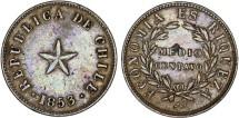 World Coins - Chile. Republic. Large Copper 1/2 Centavo 1853. XF scarce