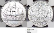 World Coins - Poland. II Republic. Ship. AR 5 Zlote 1936. NGC AU53, sharp, nice luster