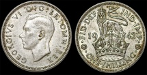 World Coins - Great Britain. George VI. AR Shilling 1942. Toned AU