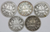 World Coins - Germany: Lot of 5 Coins: Imperial Mark 1873 -1876. aVF-VF+