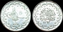 Turkey. Ottoman Empire. Muhamnad V. AG 5 Kurush AD 1878 (AH 1293//17). UNC
