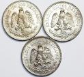 Mexico: Lot of 3 Coins: Silver 50 Centavos 1935. Choice AU/UNC