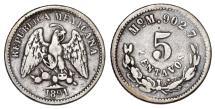 World Coins - Mexico. AR 5 Centavos 1891M. VF+