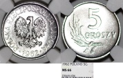 World Coins - Poland. PRL (1945-1989) RARE Aluminium 5 Groszy 1962 MW. NGC MS66!