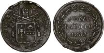 World Coins - Italy. Papal States. Rome. Gregory XVI. CU Mezzo Baiocco 1838. VF