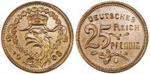 World Coins - GERMANY. Empire. Karl Goetz Copper Pattern 25 Pfennig 1908 D. Munich. Choice AU