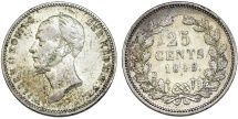 World Coins - Netherlands. king Wilhelm II (1840-1849). Silver 25 Cents 1849. Good VF