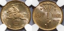 World Coins - Lithuania. Republic. Amazing 1 Centas 1925. NGC MS66!