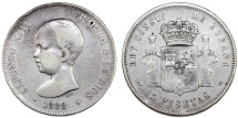 World Coins - Spain. Alfonso XII. Silver 5 France 1888 M. Fine+