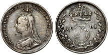 World Coins - Great Britain. Empress Victoria. AR 3 Pence 1891. Choice VF