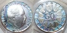 World Coins - Austria. Republic. Comemmorative 50 Schillings 1971. Proof in original seal.
