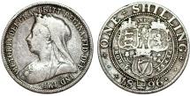 World Coins - Great Britain. Queen Victoria (1837-1901) AR 1 Shilling 1896. Fine+