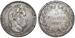 World Coins - France. king Louis Philippe (1830-1848). Silver 5 Francs 1837 A. VF, toned.
