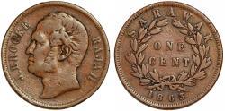 World Coins - Malaya Archipelago: Sarawak. James Brooke. Rajah (1841-1868). Cu Cent 1863. Good VF
