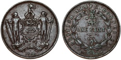 World Coins - British North Borneo. Victoria (1840-1901) AE SCARCE Cent 1890H. Good  XF, toned