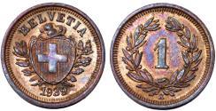 World Coins - Switzerland. Federation issue. AE 1 Rappen 1939 B. UNC