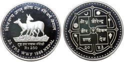 "World Coins - Nepal 250 Rupees 1986. national Animals ""Musk Deer"" Proof"