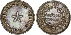 World Coins - Chile. Republic. Large Copper 1/2 Centavo 1853. XF scarce