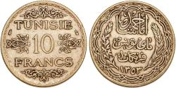 World Coins - Tunisia. Ahmad Pasha Bey. Very Nice Silver 10 Francs AH1253 (AD1934). Choice AU